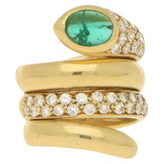Emerald and Diamond Snake Ring in 18K Yellow Gold
