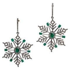 Emerald and Diamond Snowflake Dangle Chandelier Earrings