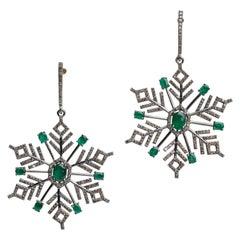 Emerald and Diamond Snowflake Dangle Chandelier Earrings