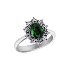 1.20 Carat Emerald and Diamond Cocktail Ring