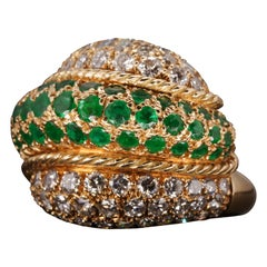 Emerald and Diamond Swirl Ring, circa 1950s