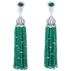 Emerald and Diamond Tassel Earrings