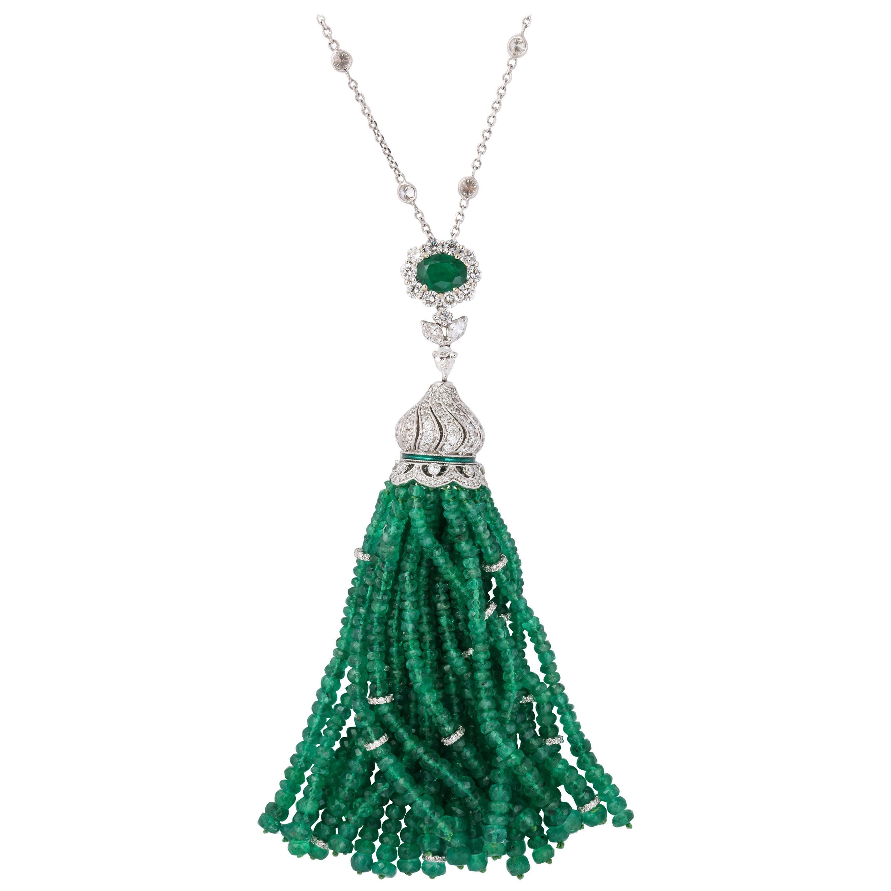 Emerald and Diamond Tassel Necklace