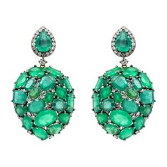 Emerald and Diamond Teardrop Earrings in Victorian Style