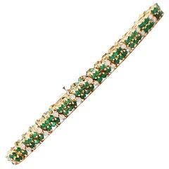 Emerald and Diamond Tennis Bracelet 4.75 Carat Yellow Gold