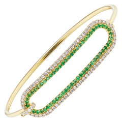 Emerald and Diamond Tension Bracelet in 18 Karat Gold