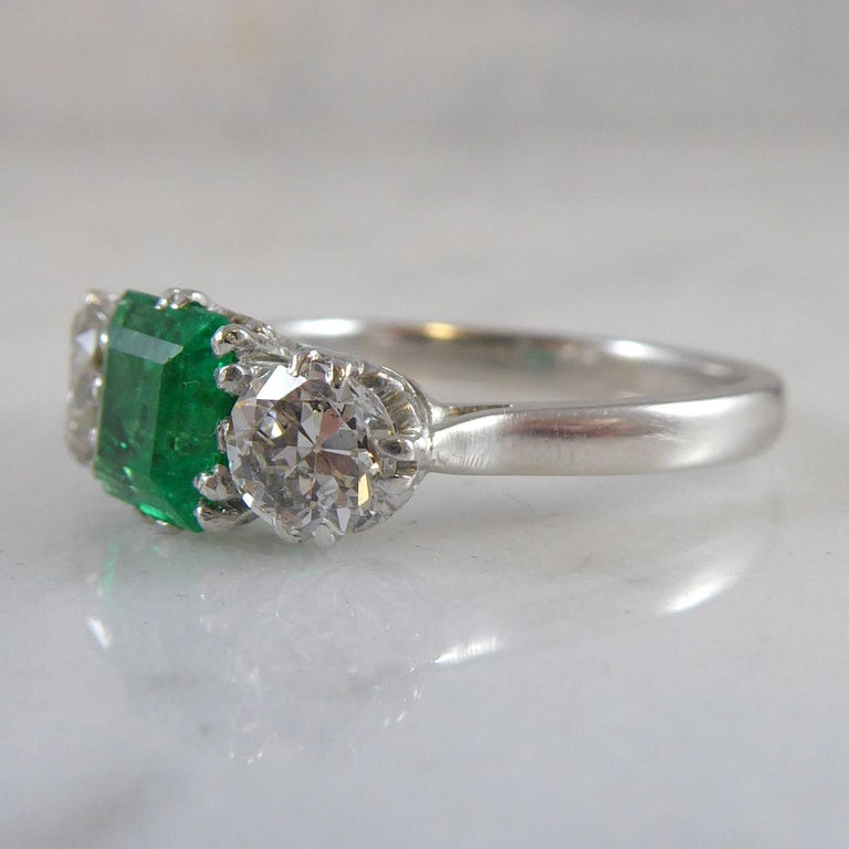 Emerald Cut Emerald and Diamond Three-Stone Engagement Ring For Sale