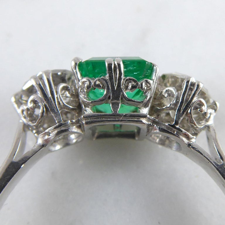 Women's or Men's Emerald and Diamond Three-Stone Engagement Ring For Sale