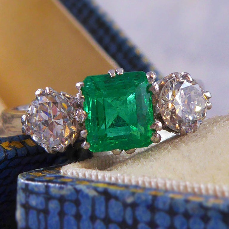Emerald and Diamond Three-Stone Engagement Ring For Sale 1