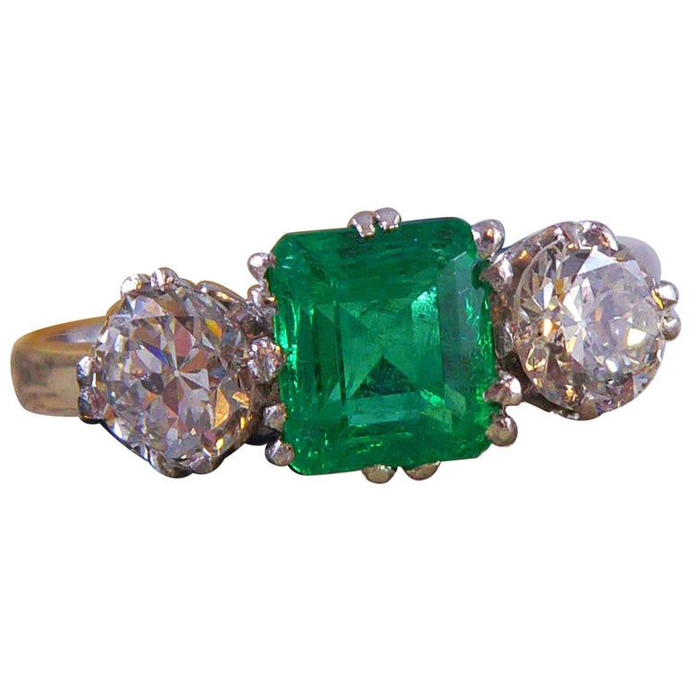 Emerald and Diamond Three-Stone Engagement Ring For Sale