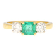 Emerald and Diamond Three Stone Engagement Ring Set in 18k Yellow Gold