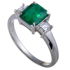 Emerald and Diamond Three-Stone Platinum Ring