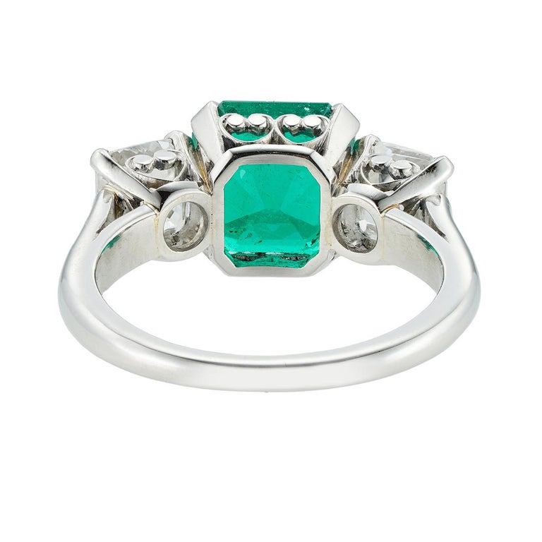 Octagon Cut Emerald and Diamond Three-Stone Ring For Sale