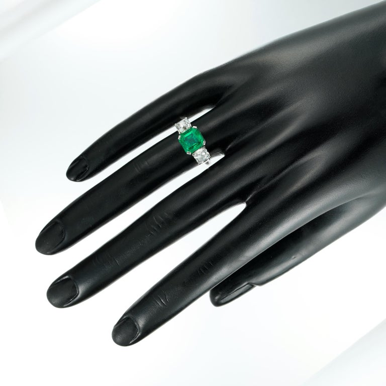 Emerald and Diamond Three-Stone Ring In Excellent Condition For Sale In London, GB