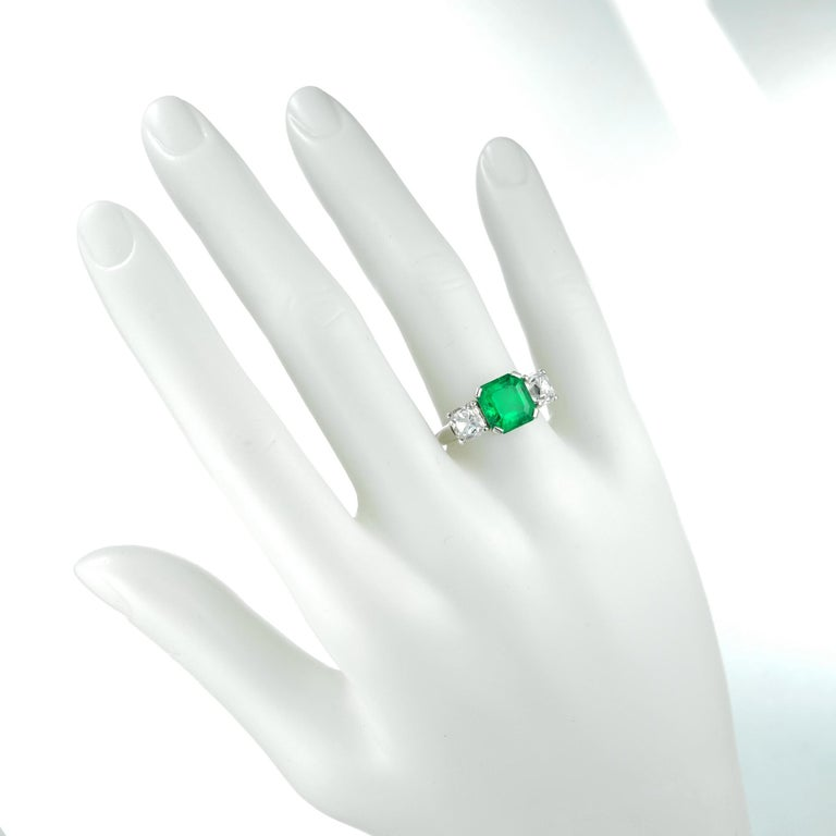 Women's or Men's Emerald and Diamond Three-Stone Ring For Sale