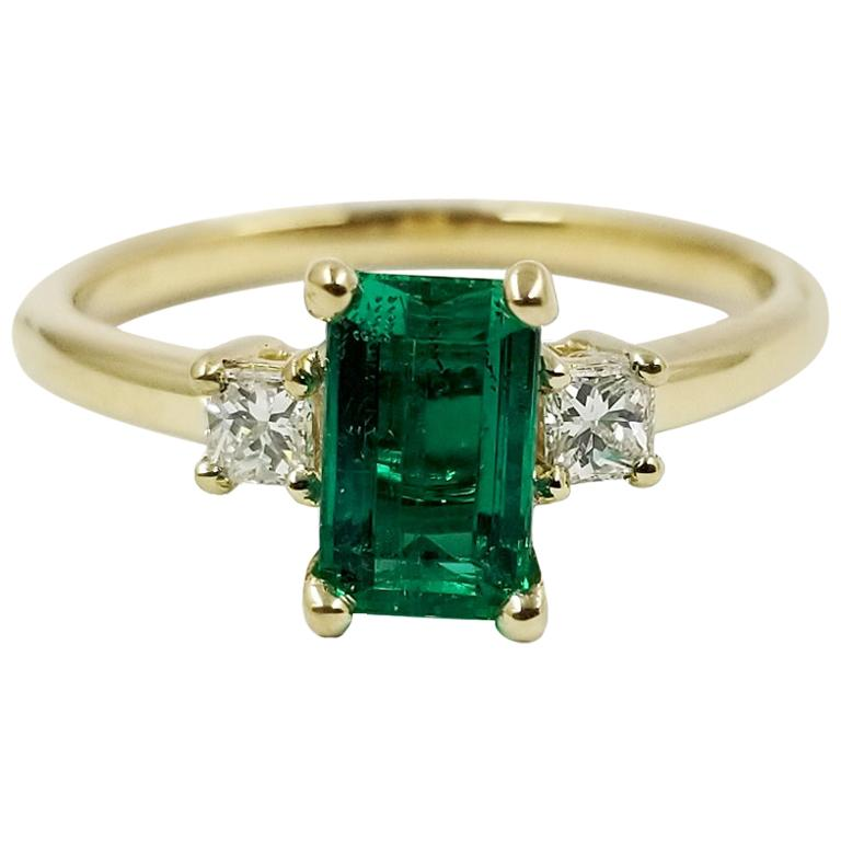Emerald and Diamond Three-Stone Ring For Sale