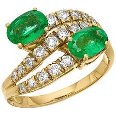 Emerald and Diamond Three-Tiered Ring in 18 Karat Yellow Gold