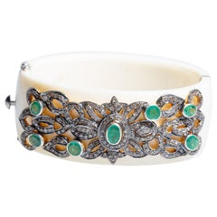 Emerald and Diamond White Bakelite Cuff Bracelet