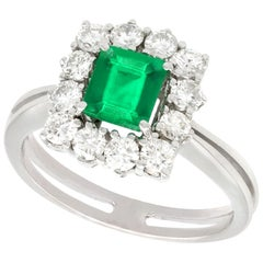 Emerald and Diamond White Gold Cluster Ring