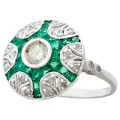Emerald and Diamond White Gold Cocktail Ring
