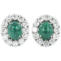 Emerald and Diamond White Gold Ear Clips