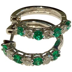 Emerald and Diamond White Gold Hoop Earrings