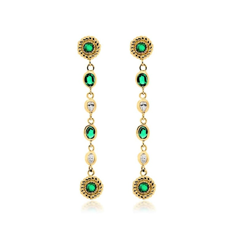 Contemporary Emerald Diamond Braided Interlacing Yellow Gold Earrings Weighing 1.77 Carats  For Sale