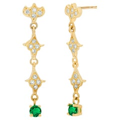 Emerald and Diamond Yellow Gold Nirvana Style Drop Earrings