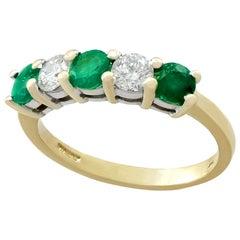 Emerald and Diamond Yellow Gold Ring