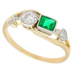 Emerald and Diamond Yellow Gold Twist Ring Antique, circa 1920