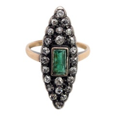 Emerald and Diamonds Cocktail Ring