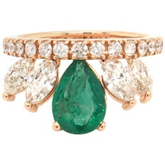 Emerald and Diamonds Crown Ring Made in Italy Rose Gold with Box