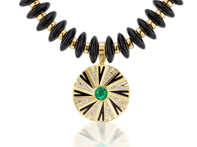 Round Cut Emerald and Diamonds Pendant on Onyx and Gold Necklace For Sale