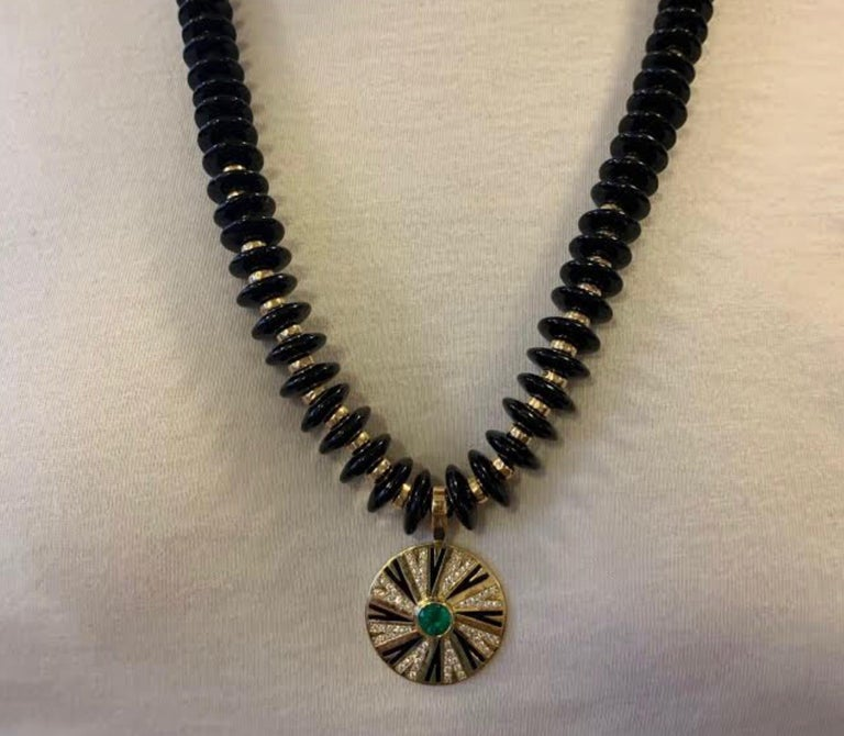 Women's or Men's Emerald and Diamonds Pendant on Onyx and Gold Necklace For Sale