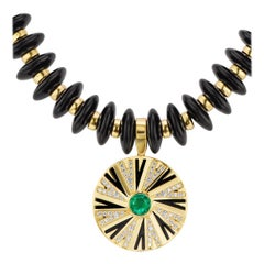 Emerald and Diamonds Pendant on Onyx and Gold Necklace