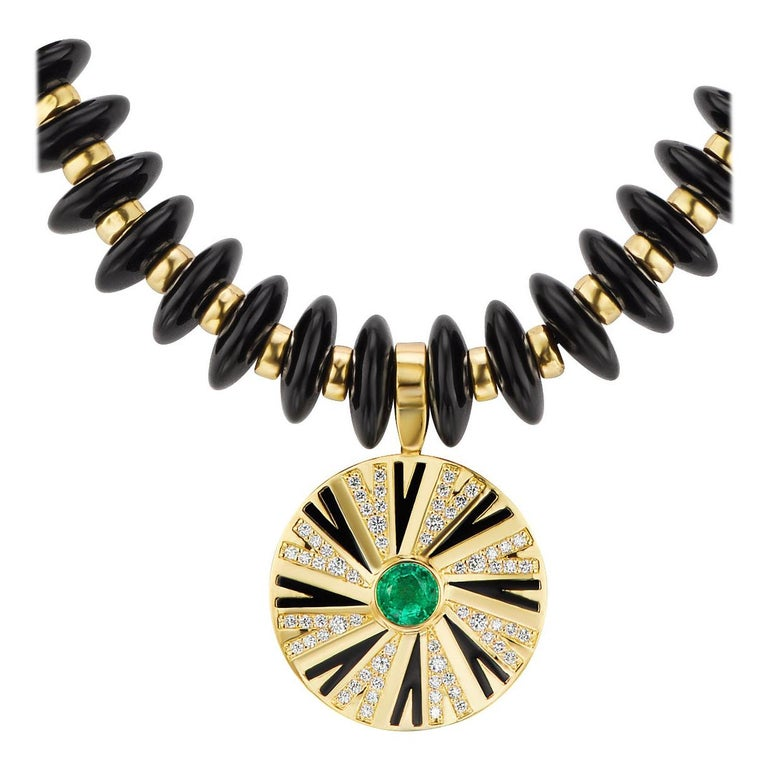 Emerald and Diamonds Pendant on Onyx and Gold Necklace For Sale