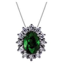 Emerald and Diamond Sunflower Chic Pendant Necklace