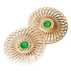 18 Karat Gold Emerald and Diamonds Sunflower Earrings