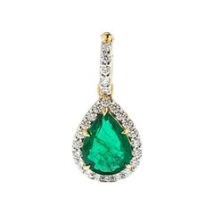 Emerald and Diamondspendent, 18 Karat Gold