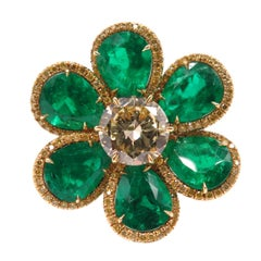 Emerald and Fancy Yellow Diamond Flower Ring