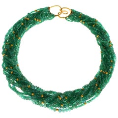 Emerald and Gold Beads Necklace