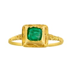 Emerald and Gold Renaissance Ring