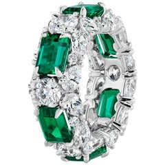 Emerald and Multi-Shaped Diamond Ring