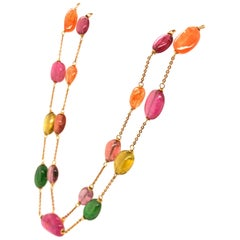 Emerald and Multicolored Tourmaline Necklace in 18 Karat Yellow Gold
