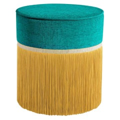 Emerald and Mustard Couture Geometric Bicolor Pouf