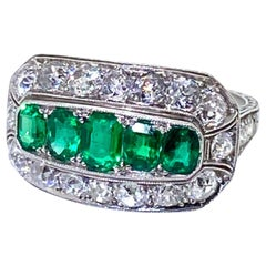 Emerald and Old European Cut Diamond Platinum Ring
