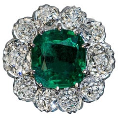 Emerald and Old Mine Cut Diamond Engagement Ring, 1950s