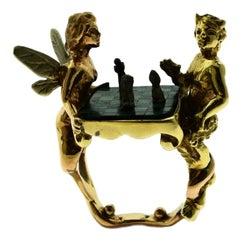 Emerald and Onyx Fairy Chess in Yellow and Rose Gold Cocktail Ring