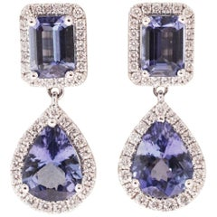 Emerald and Oval Shaped Tanzanite and Diamond Drop Earrings in 18 Karat Gold