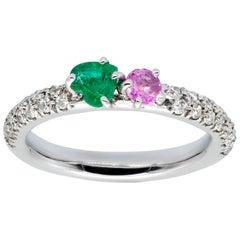 Emerald and Pink Sapphire on White Diamonds Pavé d'Avossa Ring